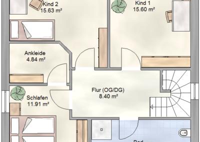 Massivhaus Spree FH 136 Pultdach Grundriss OG